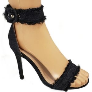 Black Denim Frayed Heels